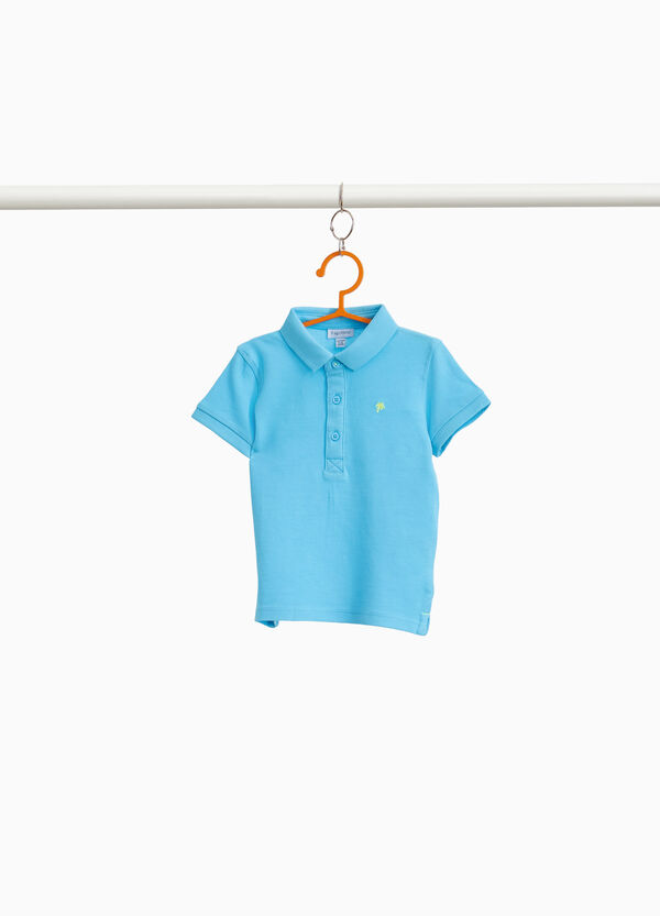 Solid colour polo shirt in cotton piquet