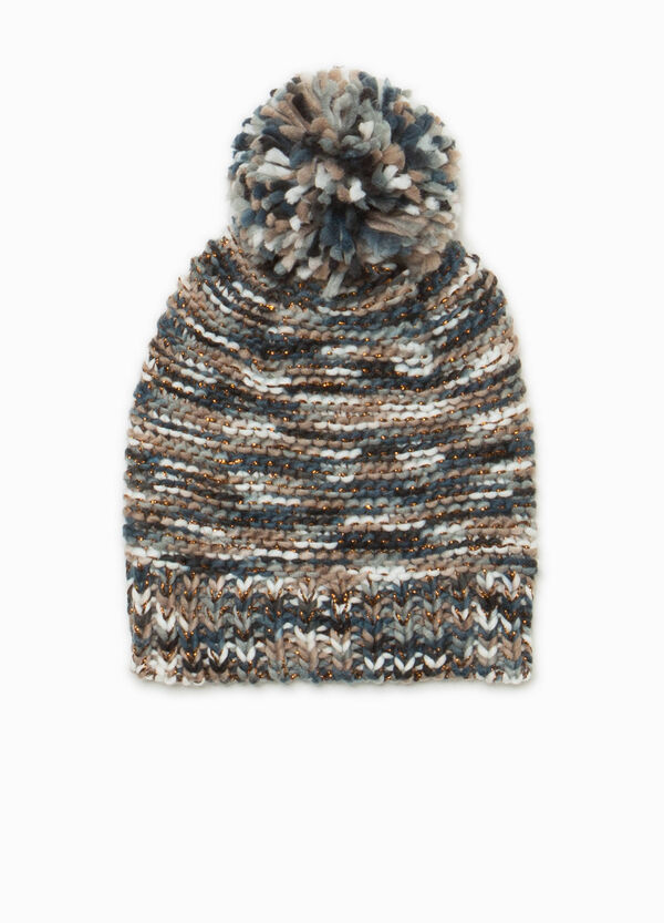 Knitted mélange beanie cap