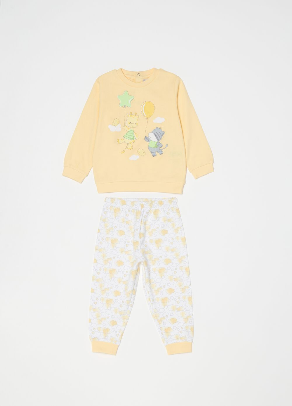Long 100% organic cotton pyjamas with pattern