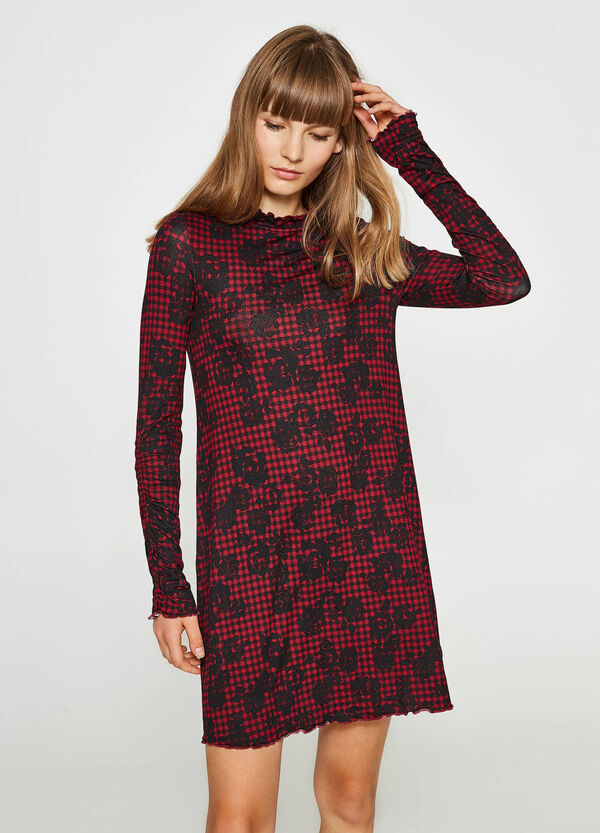 Floral and check viscose dress | OVS