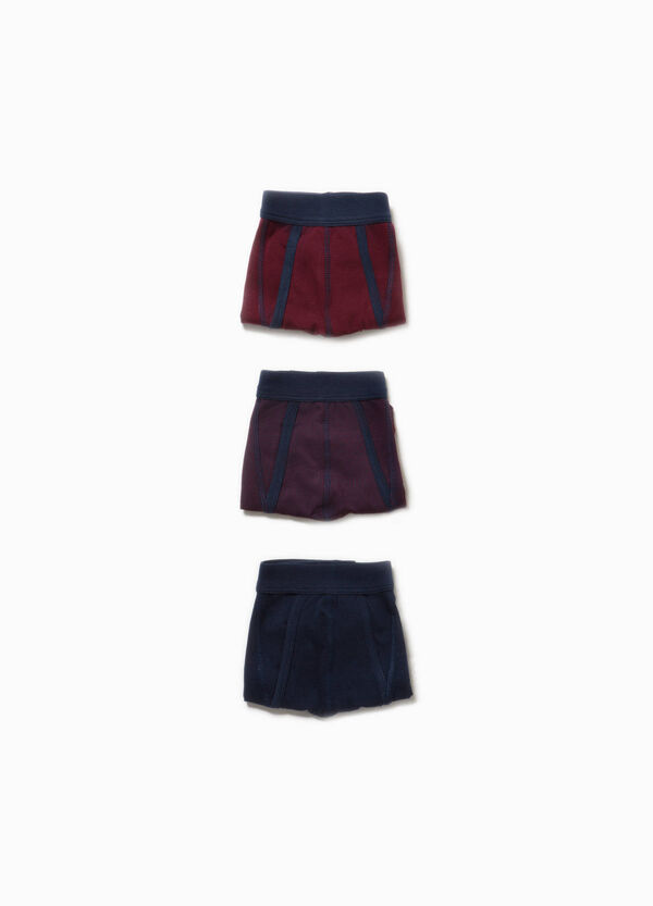 Three-pack cotton solid colour and patterned boxers