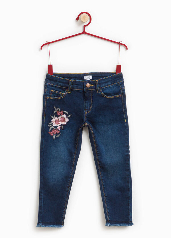 Stretch jeans with floral embroidery | OVS