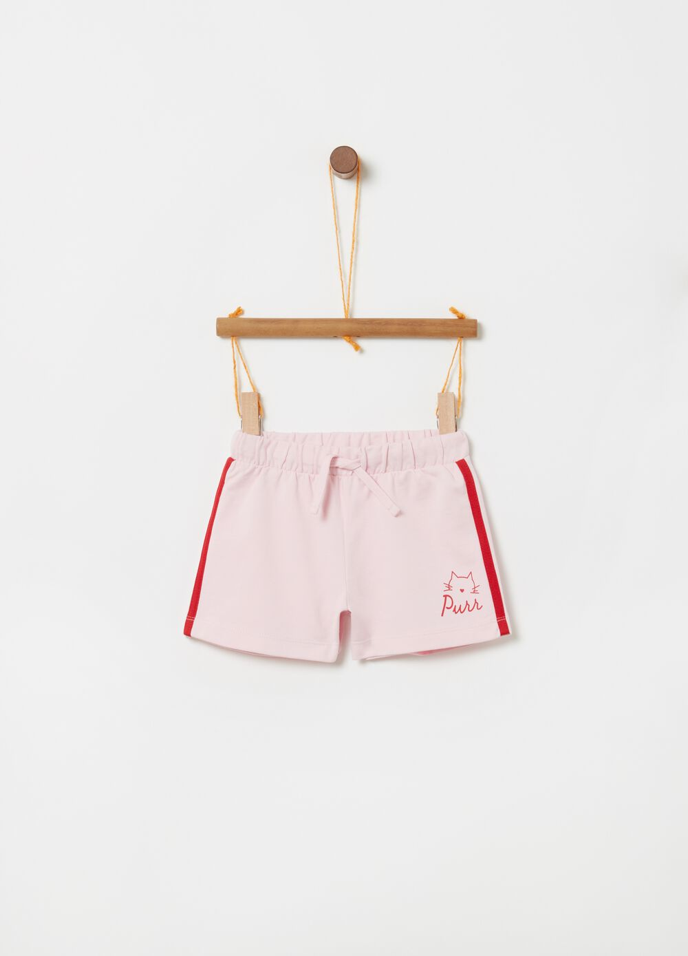100% cotton shorts with drawstring and print