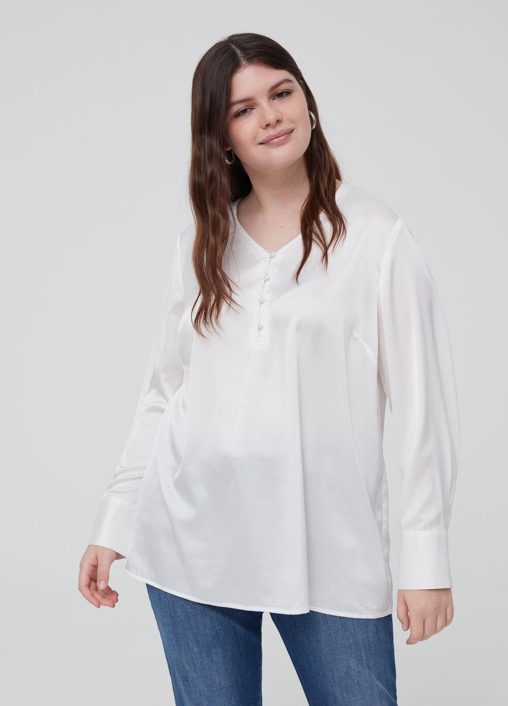 Blusa stretch effetto satin Curvy