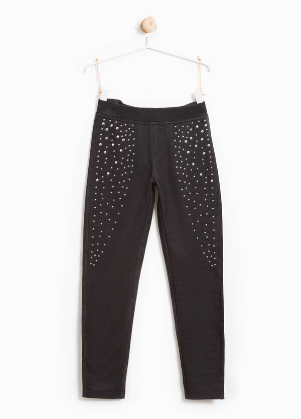 Stretch cotton studded leggings | OVS