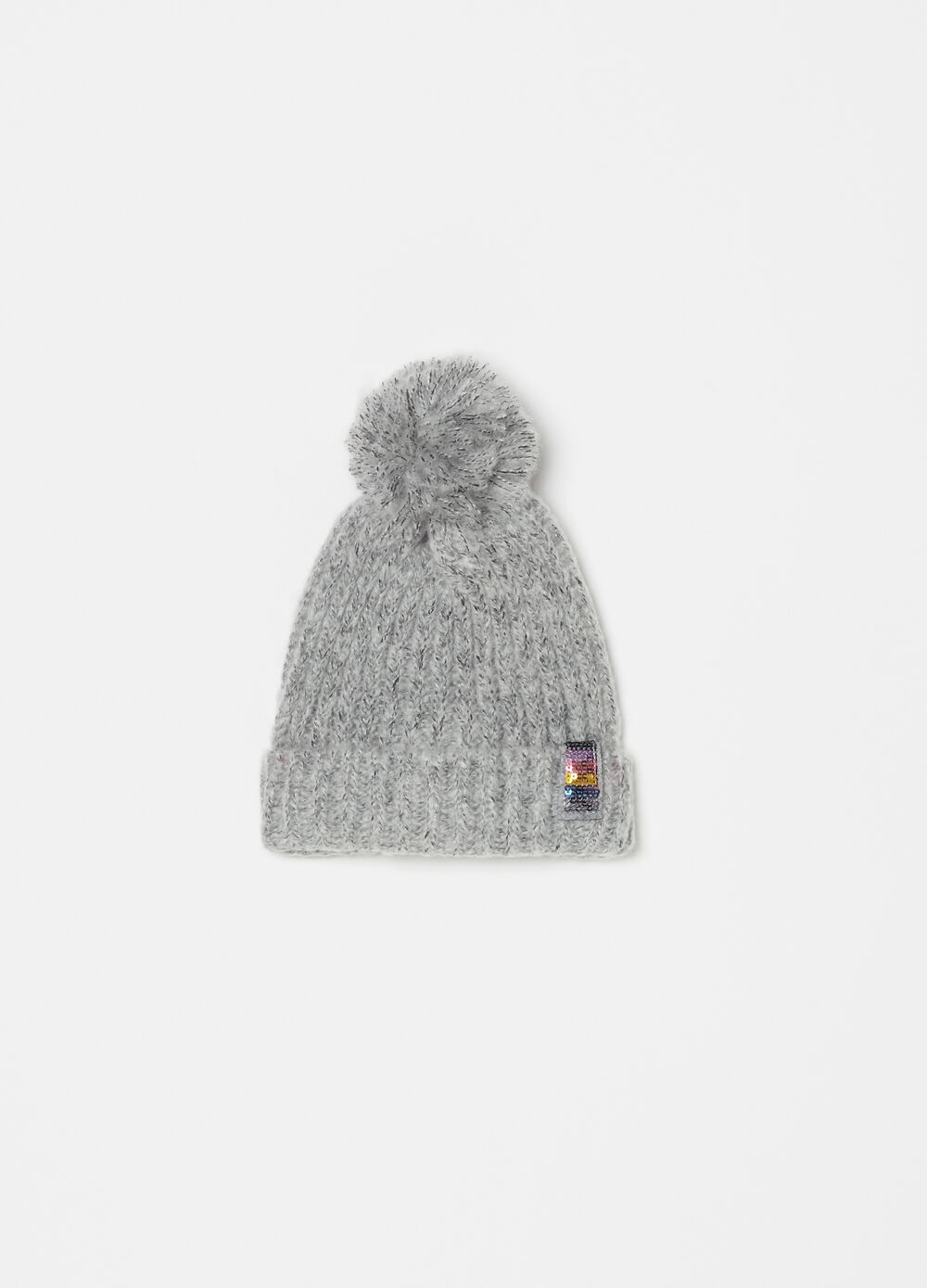 Knitted hat with pompom and sequins