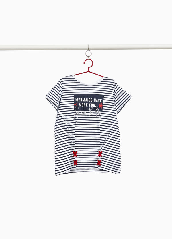 T-shirt in cotton with striped print