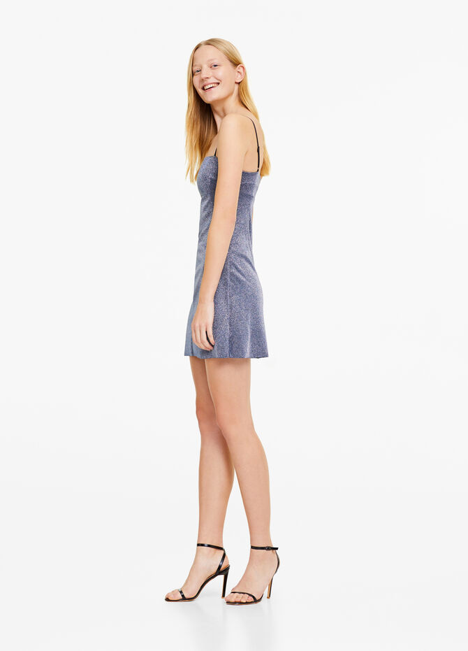 Dress with spaghetti straps and lurex