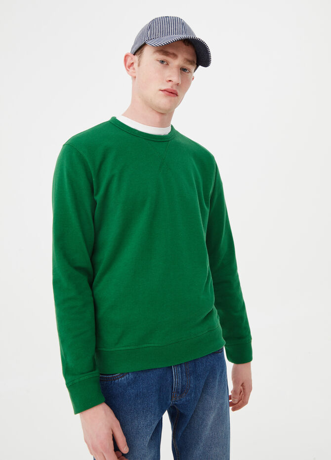 Ribbed French terry sweatshirt with round neck