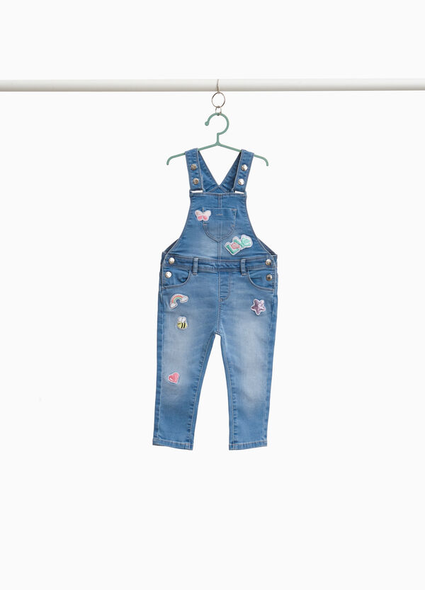 Stretch denim dungarees with patch