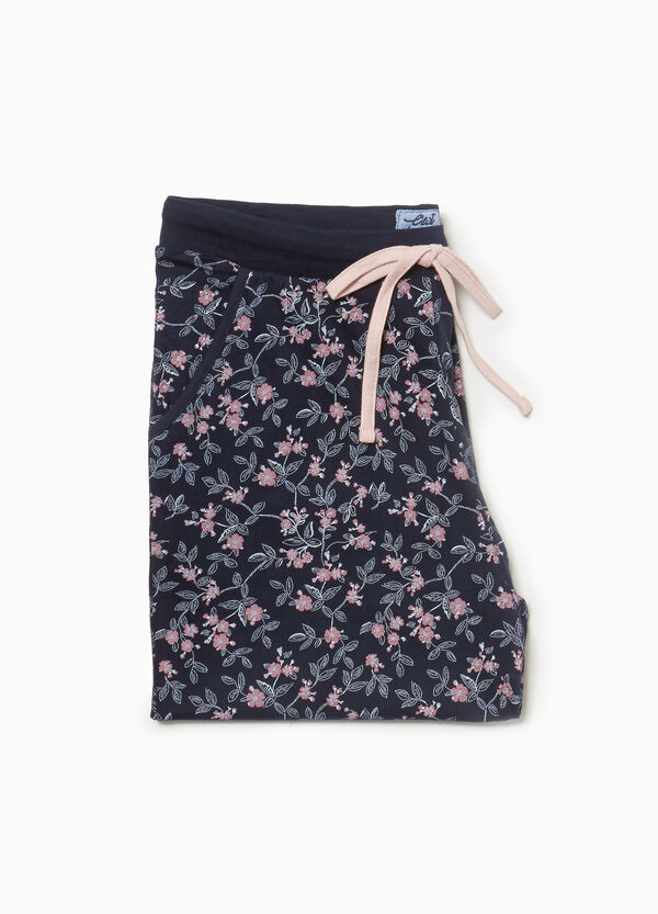 Floral cotton pyjama trousers