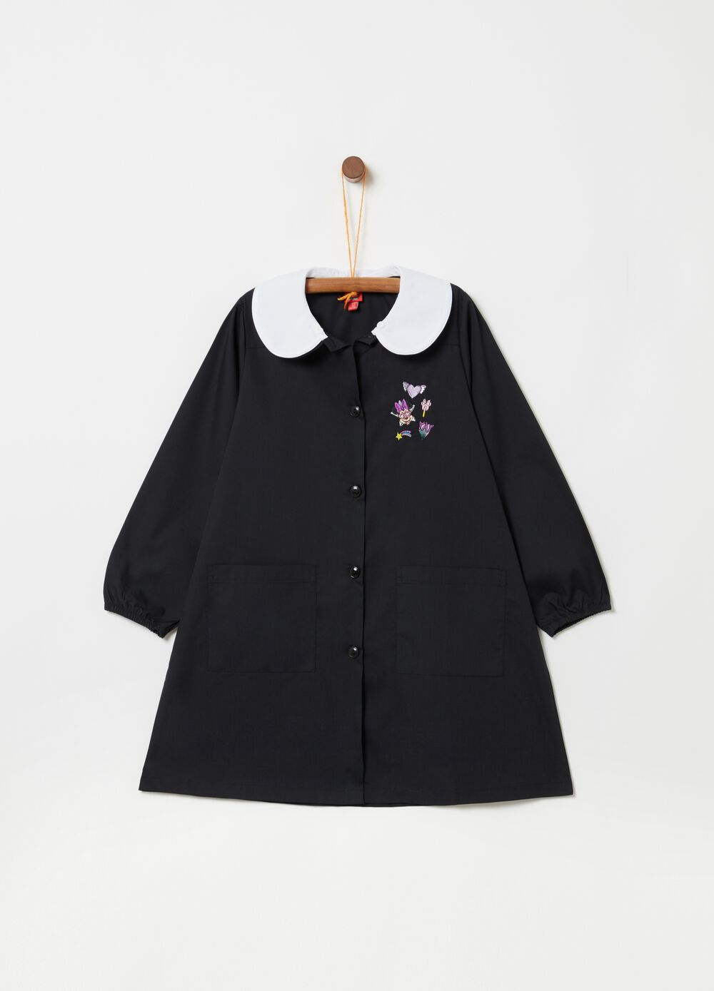 School smock with Minnie motif embroidery