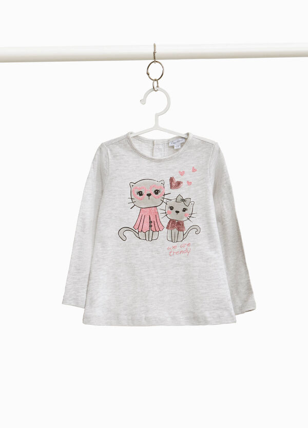 Viscose and cotton T-shirt with kittens