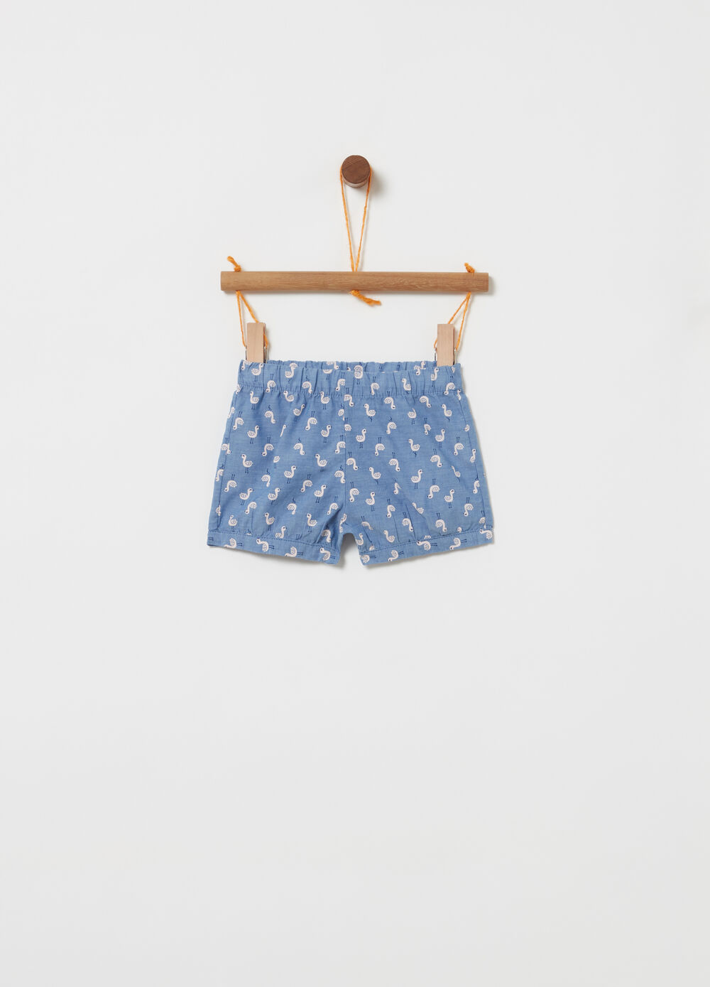 Denim shorts with goose pattern