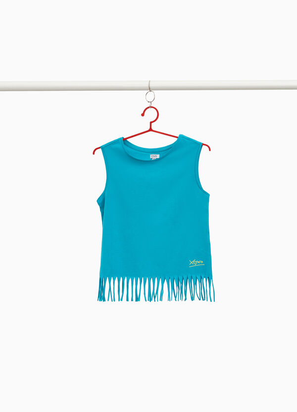 100% cotton fringed top with print