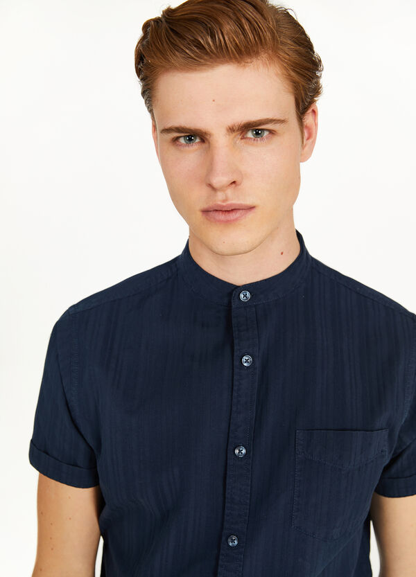 Striped weave casual cotton shirt