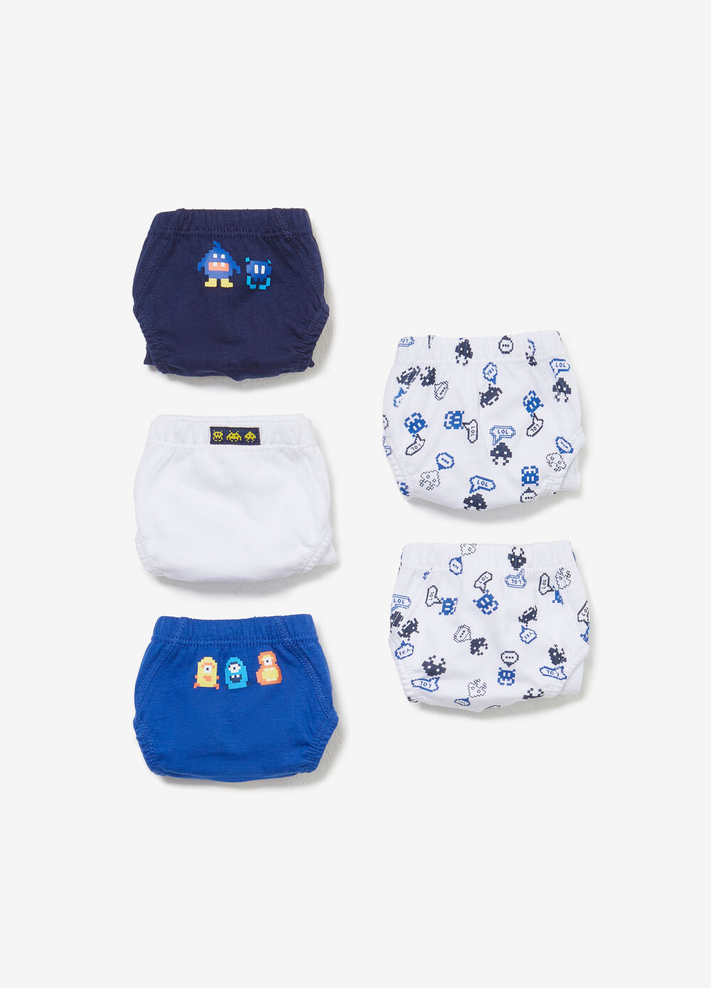 Five-pack set of solid colour and patterned BCI cotton briefs