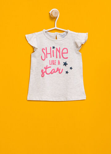 T-shirt with lettering print and flounce