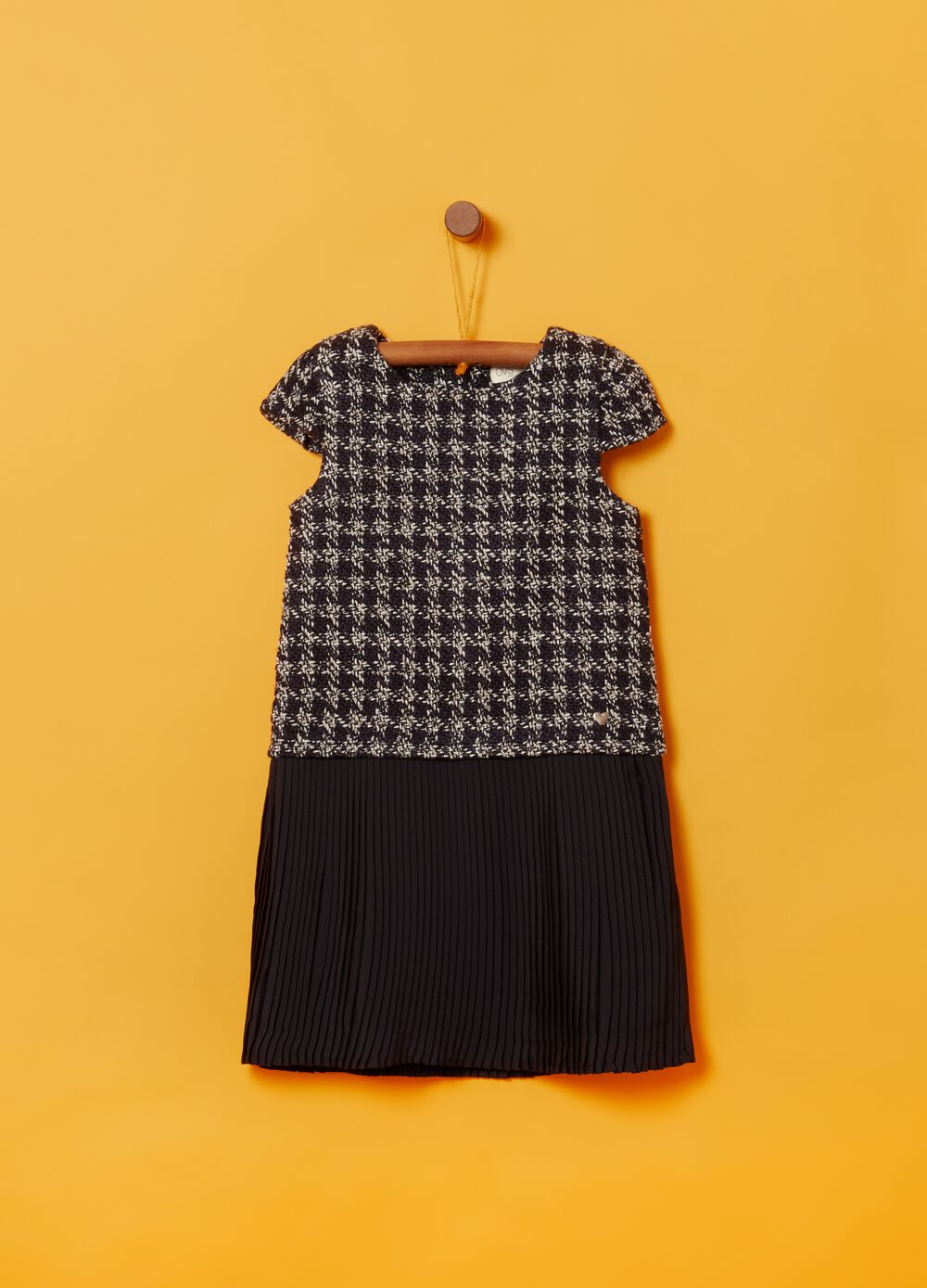 Bouclé dress with pleated skirt