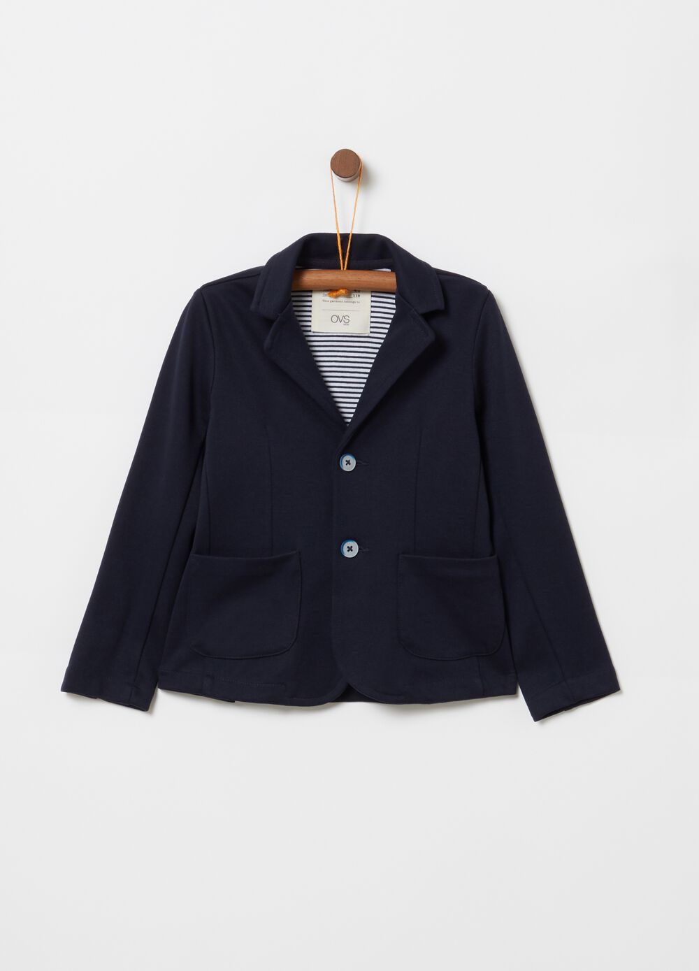 Stretch cotton jacket with two-button fastening