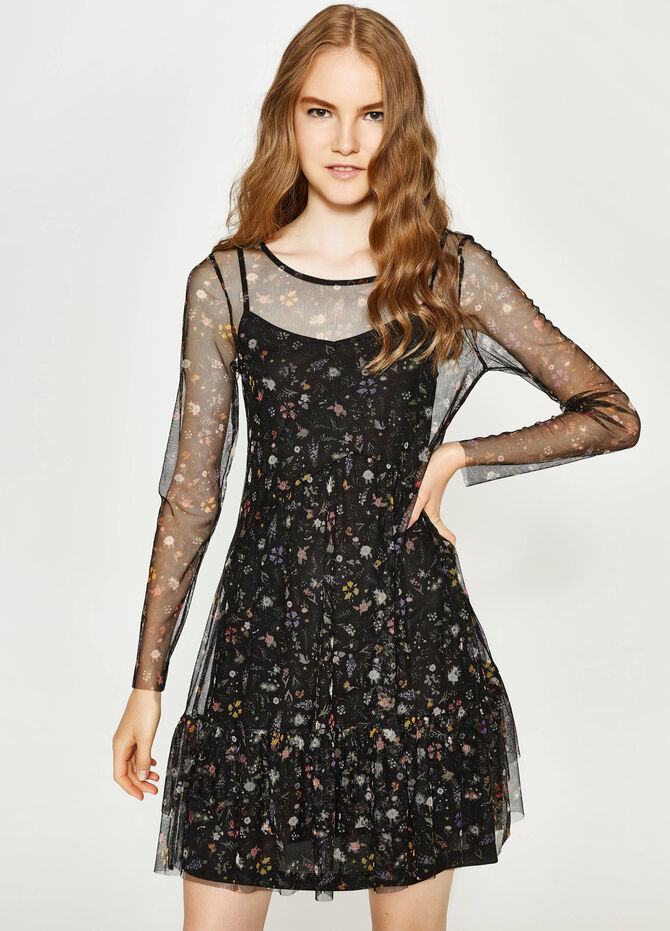 Tulle dress with floral print