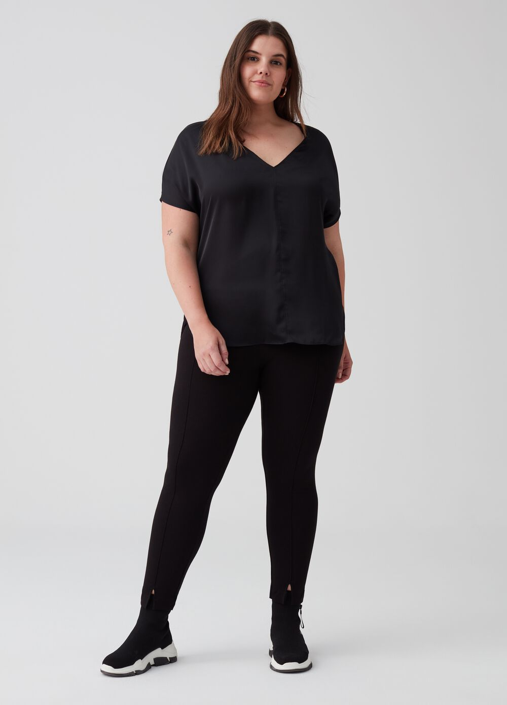 Curvy stretch leggings with splits