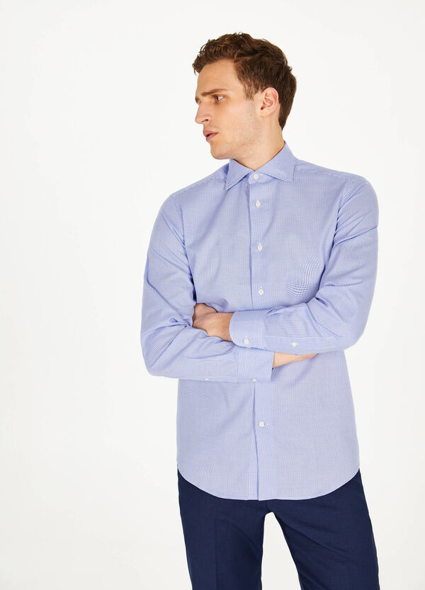 Slim-fit formal geometric shirt