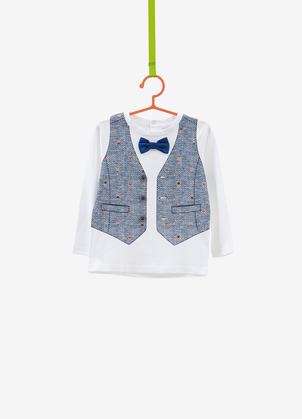 Cotton T-shirt with waistcoat with printed butterflies