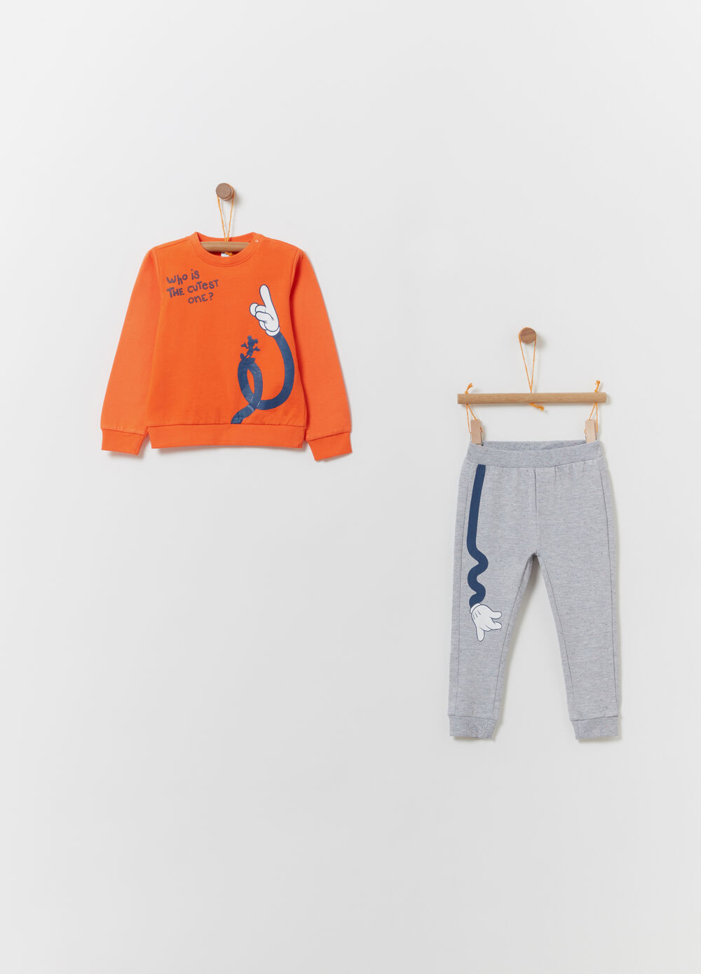 Jogging set in cotton with Mickey Mouse print