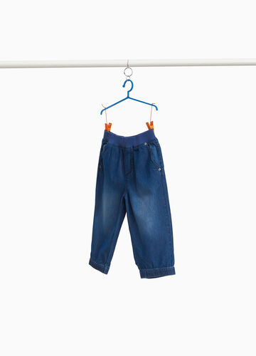 Washed-effect crop jeans with fading