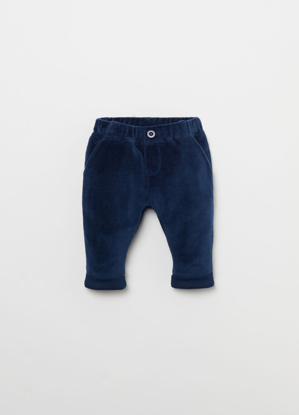 Cotton blend trousers with turn-ups and pockets