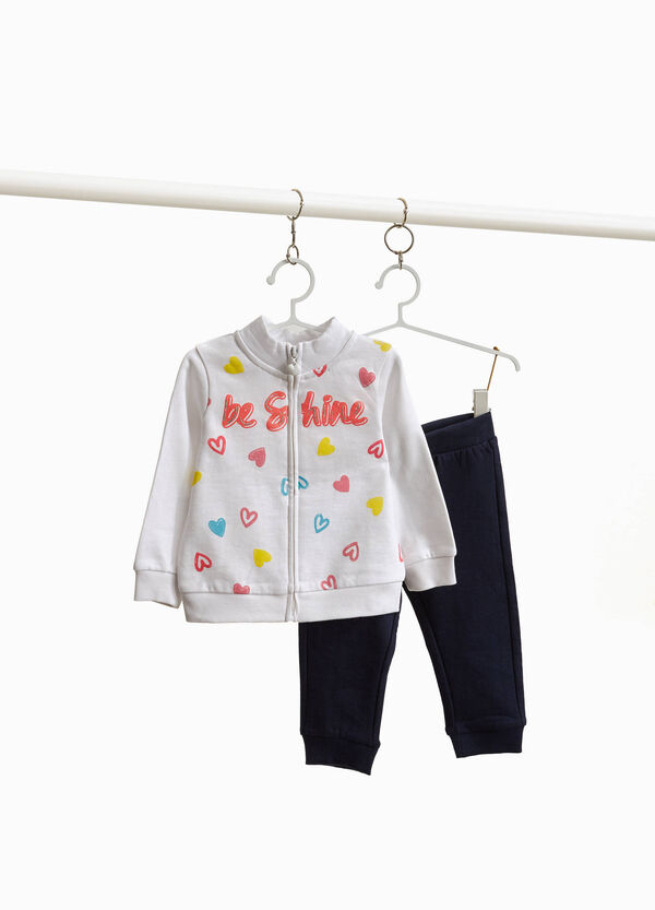 Tracksuit with lettering print and glitter hearts