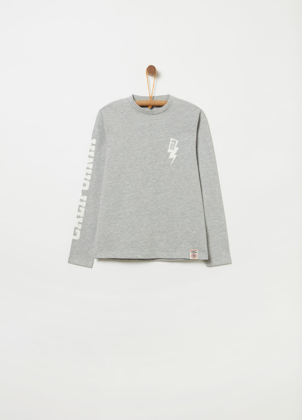 Jersey T-shirt with long sleeves and print