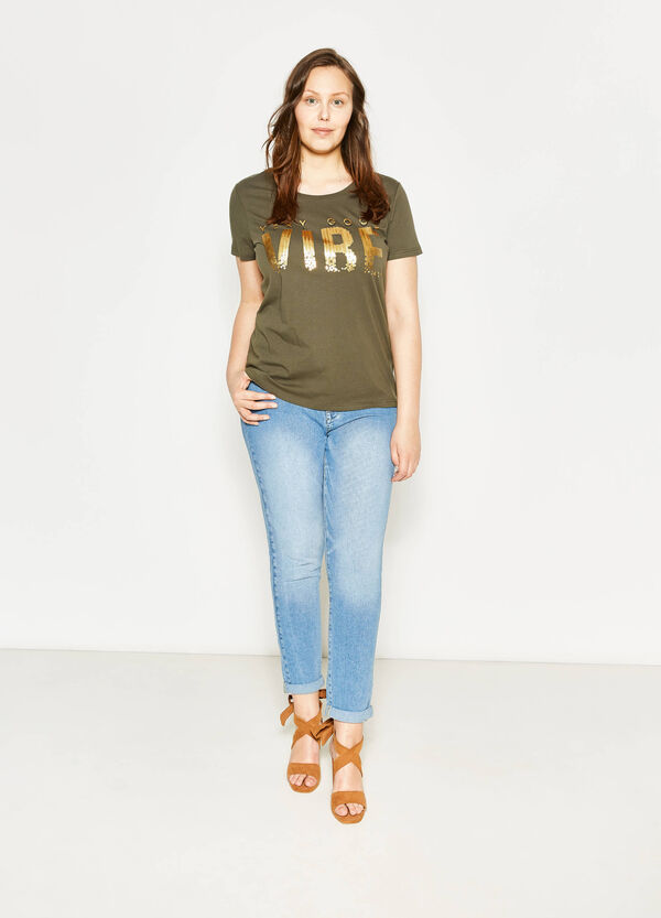 Curvy T-shirt with print and sequins   OVS