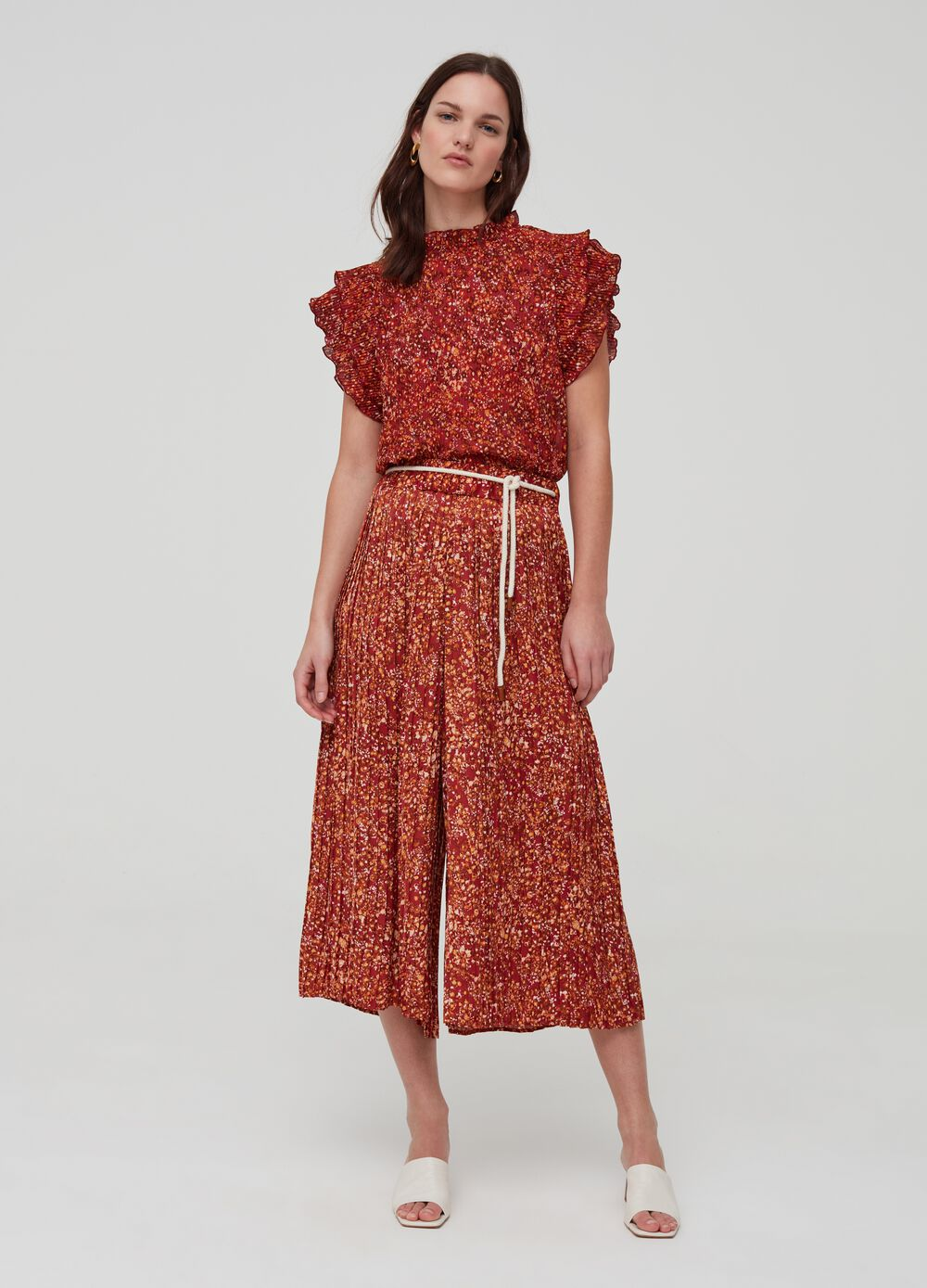 Flare trousers with pattern