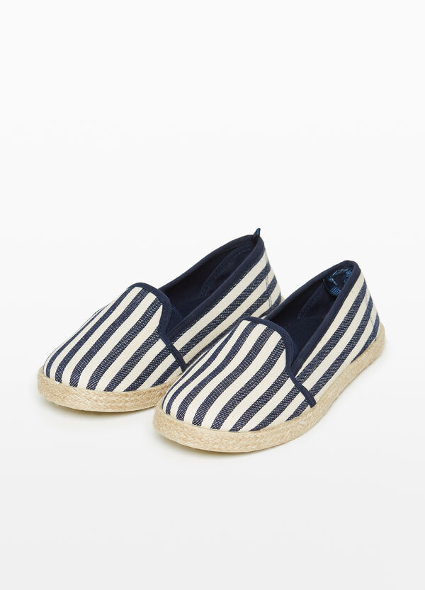 Slip-on in tela fantasia a righe