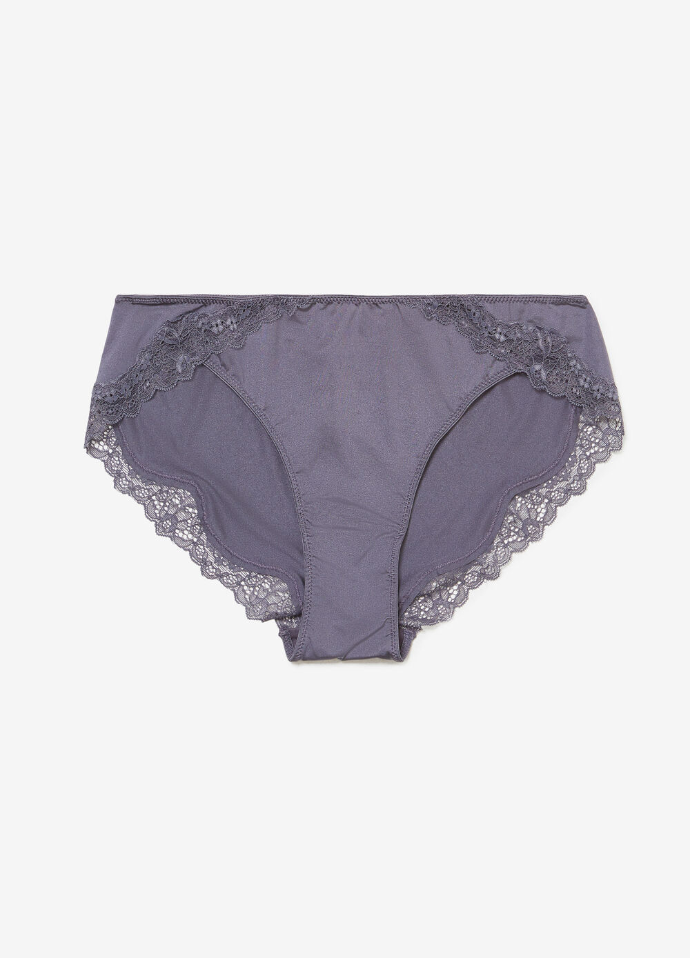 Solid colour stretch briefs with lace trim