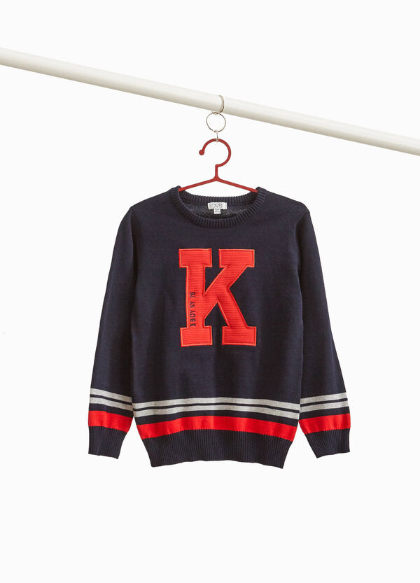 Pullover with patches and striped print