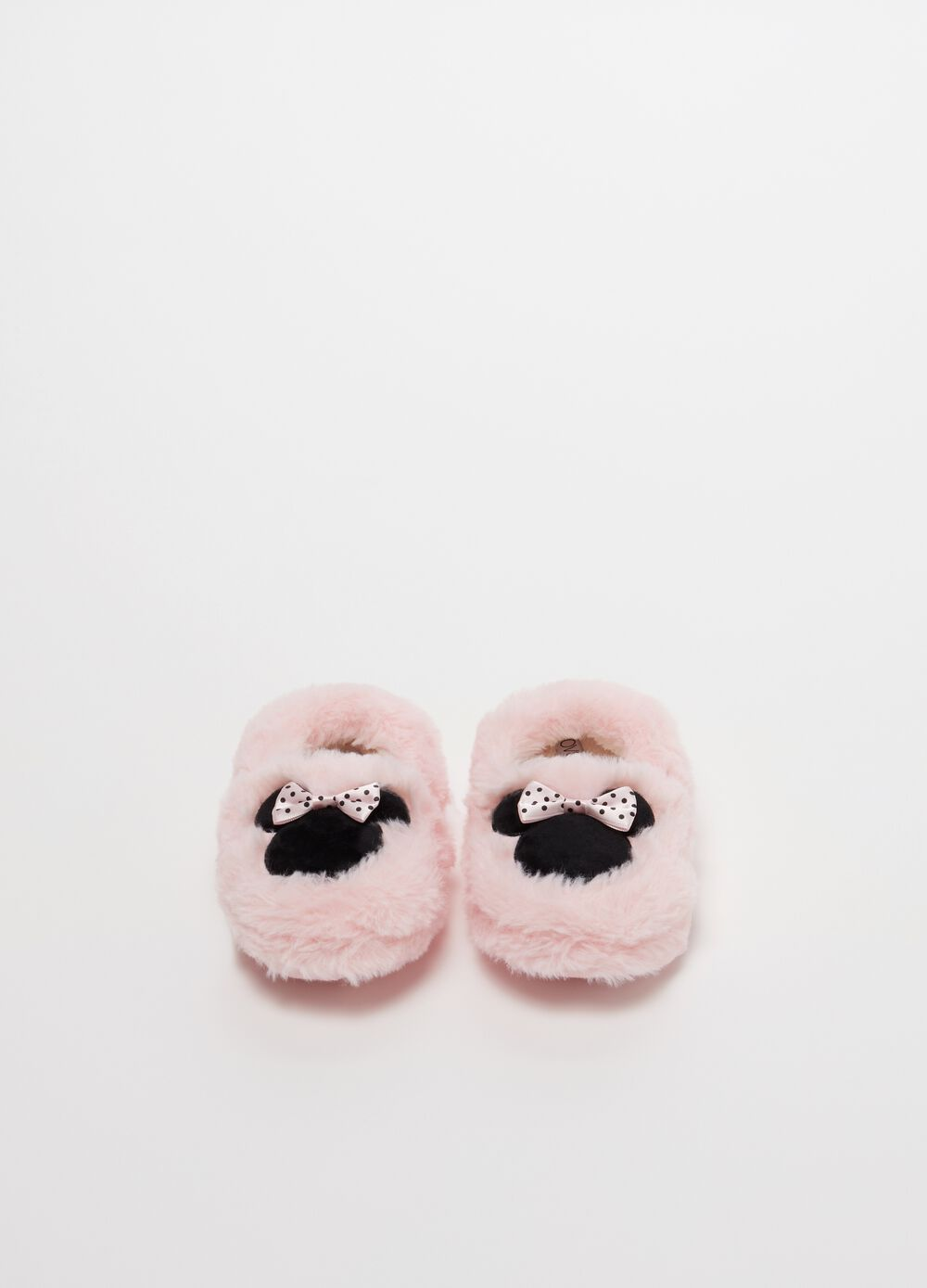 Faux fur slippers with Disney embroidery