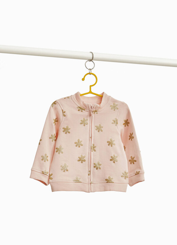 Sweatshirt in 100% cotton with floral print