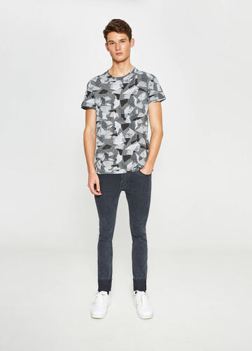 Patterned viscose and cotton T-shirt