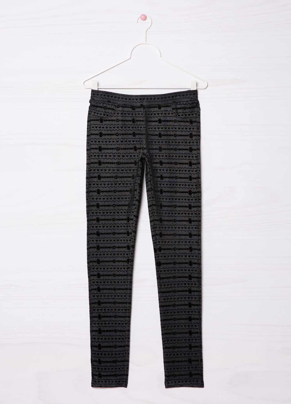 Patterned stretch jeggings
