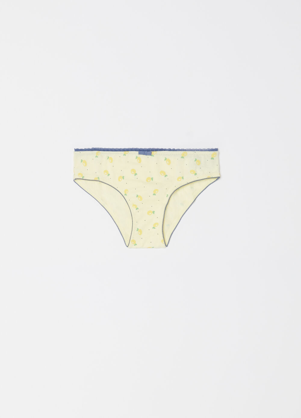 Biocotton briefs with polka dot and lemon pattern