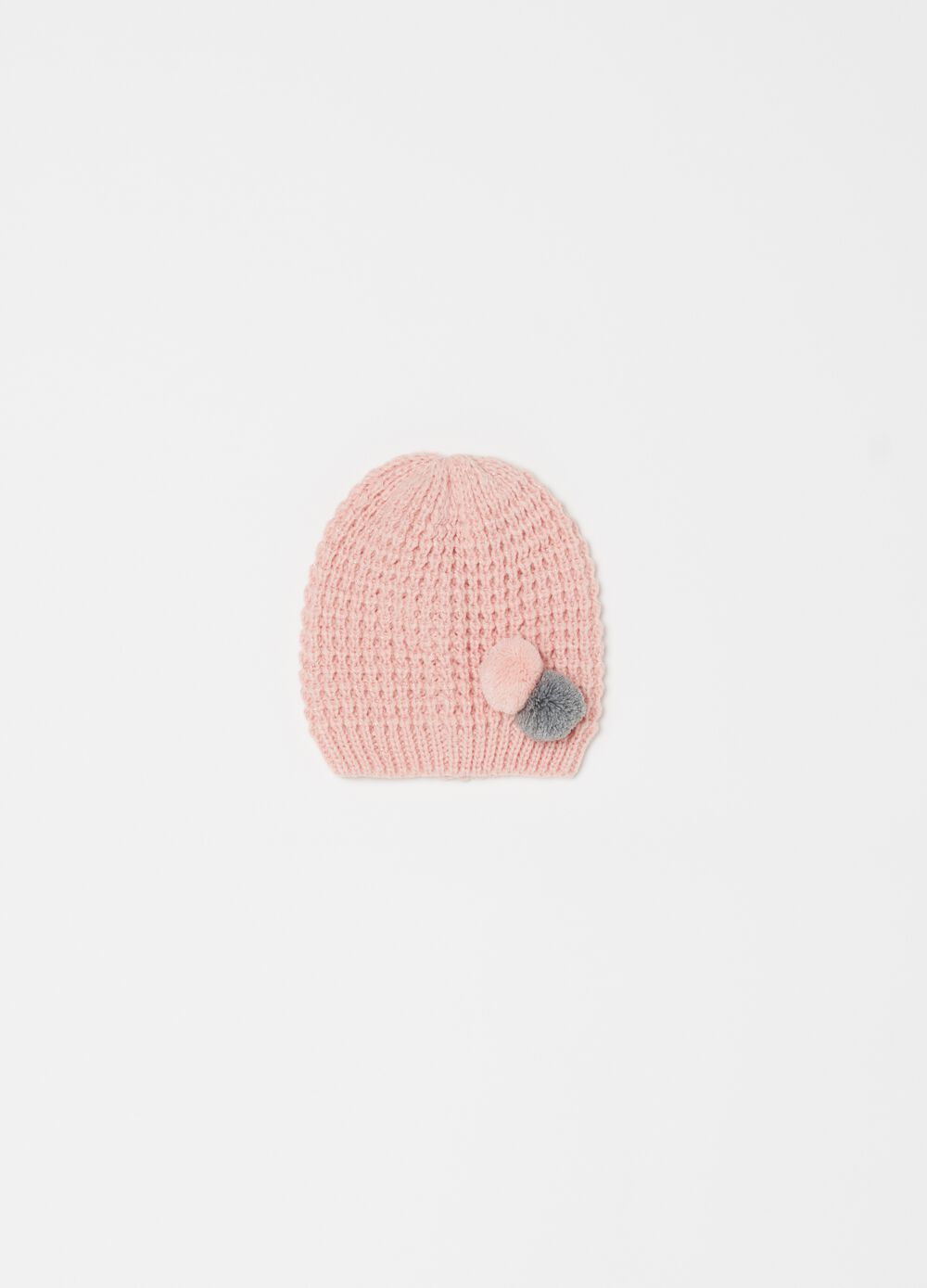 Knitted hat with lurex and pompoms