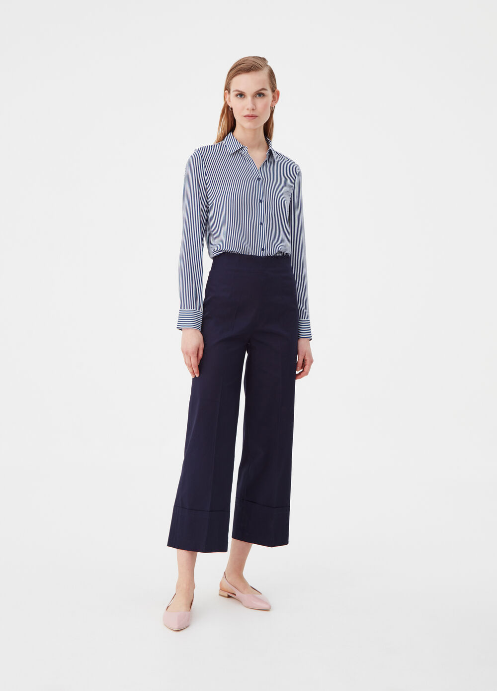 Straight-fit stretch cotton trousers