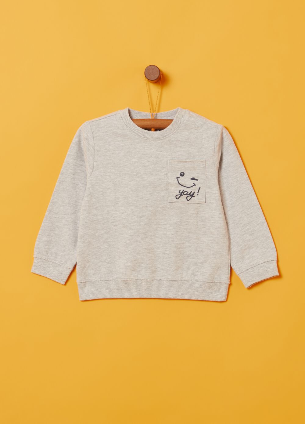 Mélange sweatshirt with pocket and print