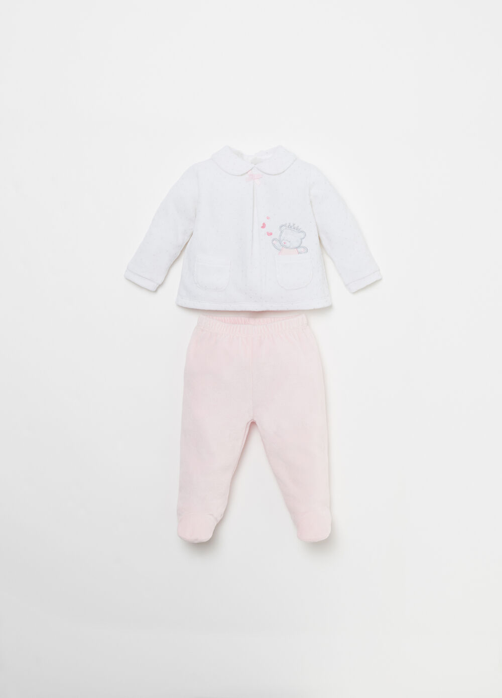 T-shirt and trousers outfit with glitter polka dot patch