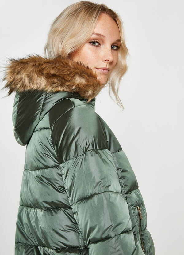 Down jacket with hood and drawstring