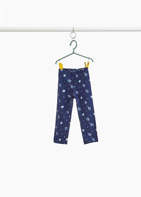 Stretch three-quarter trousers with pattern