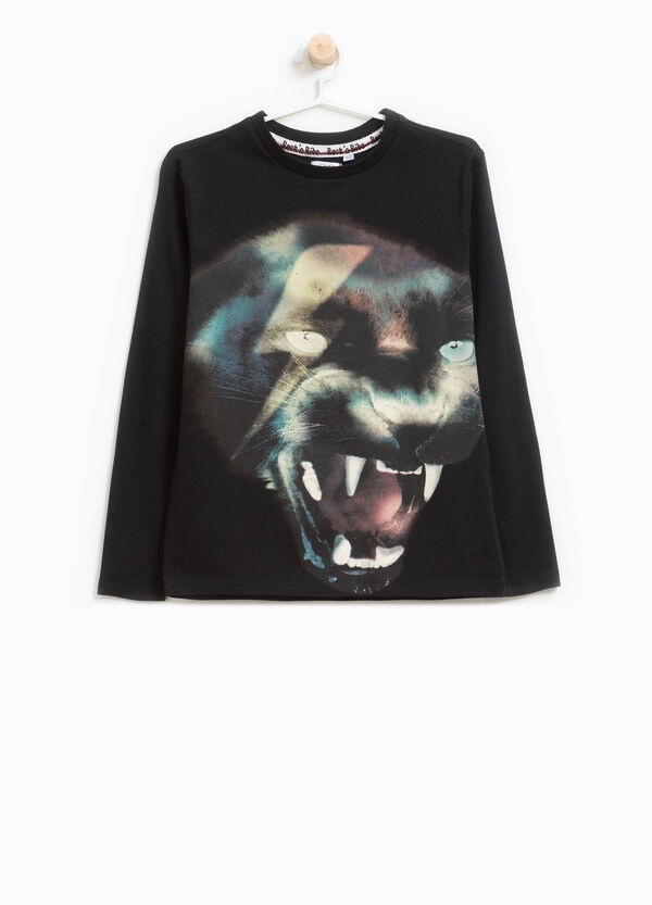 Stretch cotton T-shirt with panther print